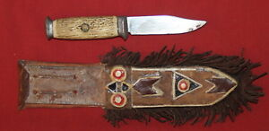 Vintage hand made knife with leather sheath