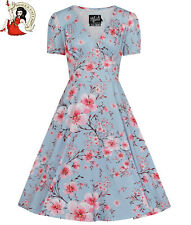 Hell Bunny Julianna Dress Floral 50s Style Tea Dress Blue