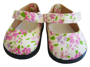 """For 18"""" American Girl Doll Clothes Floral Blossom Mary Jane Dress Shoes"""