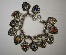 "Vintage Sterling Silver Charm Bracelet travel to the Europe 8"" ."
