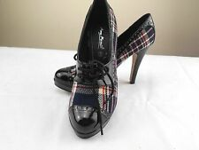 Anne Michelle Shoes Size 6 Women Stiletto High Heels Patent Leather Check Fabric