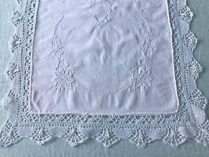 Antique Cotton Pillow Sham Doily Centrepiece Hand Embroidery Bobbin Lace Trim