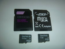 Lot Of 2 Sandisk 1GB & 512MB Micro SD Cards + Adapter Memory Camera Phones Wii