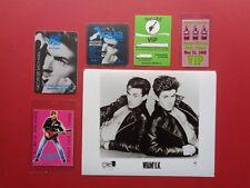 "Wham,George Michael,8x10"" B/W promo photo,5 Rare Original backstage passes"