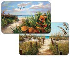4 Reversible CounterArt Ocean Path Beach Nautical Plastic Mat Placemats Tan Blue