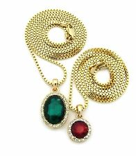 Gold Round Oval Ruby Emerald Green Red Pendant Charm Chain Necklace Set N0072G
