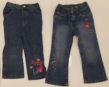2 PAIR INFANT/TODDLER GIRLS JEANS EMBROIDERED HEARTS STARS PEACE SIGNS 2T & 3T