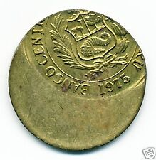 1975 Peru 1 Sol Coin, Off Center Mint Error