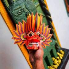 HALLOWEEN DEVIL MASK Traditional Handmade WOODEN Wall Hanging Decoration CARVED