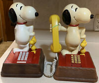 Set Of 2 SNOOPY AND WOODSTOCK PHONES Vintage Circa 1976 Touch Tone