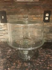 Vintage Cake Stand With Etched Glass Cover