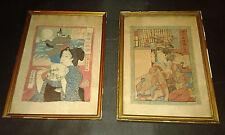 Paire estampes japonaises sur crepon - chirimen-e - XIX- Geisha & samourai