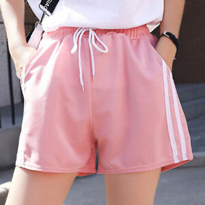 Women Sport Shorts Stripe Casual Beach Summer Jogging Gym Yoga Fitness Hot Pants