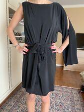 Haute Hippie Black Silk Dress, Size M, One Sleeve, Cold Shoulder, Mini