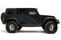 Vinyl Graphics Decal TIRE TRACKS Wrap Kit for Jeep Wrangler 4 Door 2007-16 Gray