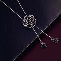 Black Rose Flower Pendant Necklace Long Sweater Chain Women Crystal Jewelry Gift