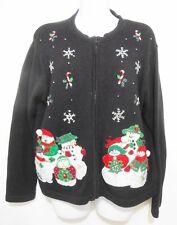 Ugly Christmas Sweater Womens PL Black Applique Snowmen Snowflakes Tiara Petites