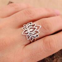 Lotus Flower Plain 925 Sterling Silver Ring Jewellery