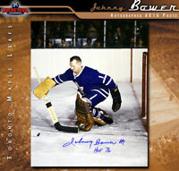 JOHNNY BOWER Signed Toronto Maple Leafs 8 x 10 Photo w/ HoF Inscription -70444