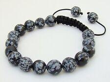 Para Hombre Shamballa Pulsera todos 10mm Obsidiana Copo De Nieve Beads