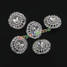 Diamante Silver 5Pc Rhinestone Crystal Round Shank Buttons Sewing Craft 23mm