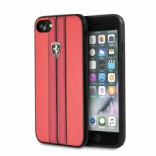 Ferrari® P.U. Leather with Stripes Phone Case for iPhone SE 8 7 Red