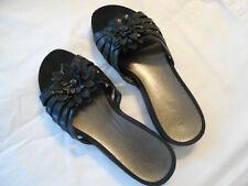 Array slip on sandal women 8.5 black leather upper strap flower