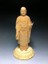 Japanese Buddha Statue Wooden Amitabha Nyorai Jizo Art Gold Painting Japan