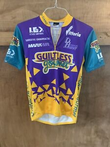 "Vintage 1993 LOUIS GARNEAU Cycling Jersey ""Guiltless Gourmet"" Size Medium"