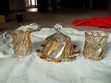 Creamer Sugar Spoon Butter Dish Two Ply Swirl Gold Duncan Miller Sons EAPG Glass