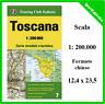 cartina carta stradale regionale della toscana touring club italiano 1:200.000