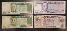 4pcs Philippines 5 100 Pesos Circulated Banknotes  ALO31B