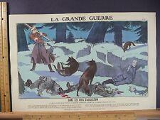 Rare Antique Original VTG 1914 WWI Dans Les Bois D'Augustów Wolf Litho Art Print