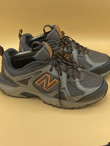 New Balance 481v3 Trail Running Shoes, MT481LC3, Gray/Orange, Mens 10 4E, XXWide