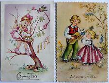 Lot de 2 cartes postales anciennes Bonne Fête.