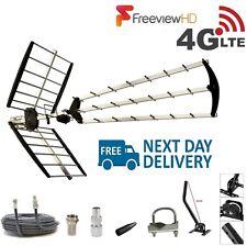 TV Aerial 4G Filter Triple Boom 70 Element Freeview Digital HD Full Install Kit