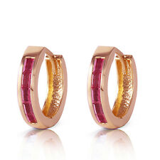 1.3 Carat 14K Solid Rose Gold Hoop Earrings Natural Ruby