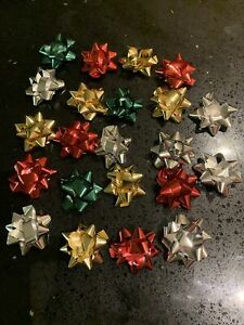20 x Christmas - Birthday Gift Bows Metallic 50mm Red Gold Silver Green