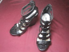 "Dollhouse Black Faux Leather Strappy Platform Wedge 5"" Heel, Size 9.5 Med"