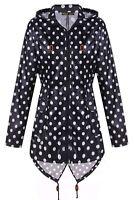 New Womens Plus Size Contrast Zip Waterproof Raincoats Fishtail Parka Jacket