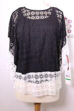 Ruby Rd women blouse top Black/White Kimono sleeve round top size PL New NWT