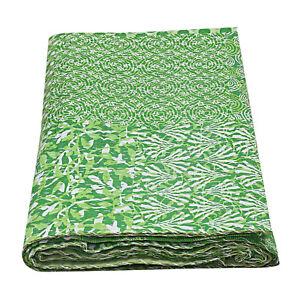 Green Kantha Quilts Indian King Size Bedding Bedspread Throw Blanket Boho Decor