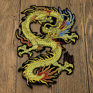 Dragon Patch Lace Embroidered Iron On Applique Badge Fabric Sewing Craft Clothes