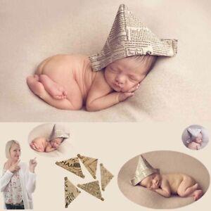 Newborn Baby Girls Boys Cotton Linen Hats Photo Photography Prop Newspaper Hat