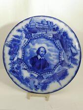 "Wood & Son England Royal Semi Porcelain Flow Flo Blue Shakespeare Plate - 9 1/2"""