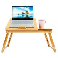 Portable Bamboo Laptop Desk Table Folding Breakfast Bed Serving Tray w/ Drawer