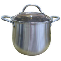 Induction 22cm Casserole StainlessSteel Stockpot Kitchen Essential Pot Glass Lid