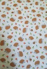 Gentle forest- cream hedgehog and snail fabric