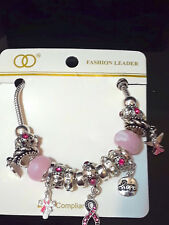 Silver Pink Ribbon Beaded Murano Glass Rope Charm Hope Angel Bracelet Crysta