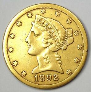 1892-CC Liberty Gold Half Eagle $5 Coin - Rare Carson City Gold Coin!